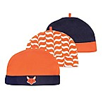 Yoga Sprout Size 0-6M 3-Pack Fox Caps in Orange