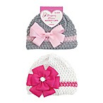 Stepping Stones 2-Piece Flower Hat Set in Pink/Grey