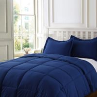 Clean Living Stain/Water Resistant 2-Piece Twin Comforter Set in Navy