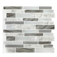 Peel & Impress™ 4-Pack Oblong Marble Peel and Stick Wall Tiles in Grey