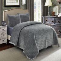 Wonder Home Hawthorne Velvet Queen Quilt Set in Grey