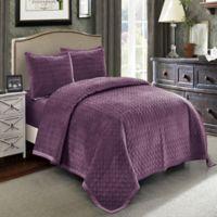 Wonder Home Hawthorne Velvet King Quilt Set in Purple