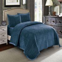 Wonder Home Hawthorne Velvet Queen Quilt Set in Blue