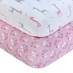 Little Love by NoJo® Giraffe Time Fitted Crib Sheets in Pink (Set of 2)