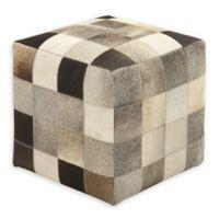 Square Multicolor Patch Leather Hide Ottoman