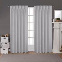 Sateen Pinch Pleat 108-Inch Back Tab Room Darkening Window Curtain Panel Pair in Silver