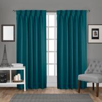 Sateen Pinch Pleat 108-Inch Back Tab Room Darkening Window Curtain Panel Pair in Teal