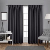 Sateen Pinch Pleat 108-Inch Back Tab Room Darkening Window Curtain Panel Pair in Charcoal