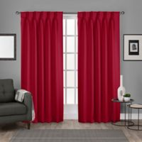 Sateen Pinch Pleat 84-Inch Back Tab Room Darkening Window Curtain Panel Pair in Chili