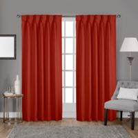 Sateen Pinch Pleat 108-Inch Back Tab Room Darkening Window Curtain Panel Pair in Orange