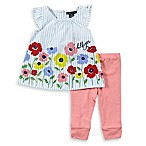 Tommy Hilfiger® Floral Stripe Size 6-9M 2-Piece Top and Pant Set