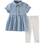 Tommy Hilfiger® Size 12M 2-Piece Ruffled Chambray Top and Legging Set