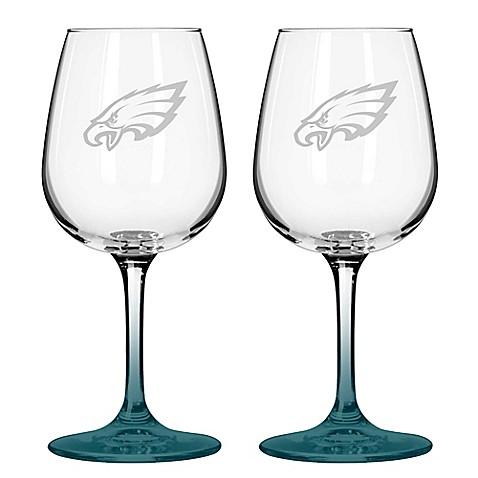 Nfl Philadelphia Eagles Satin Etched Wine Glasses Set Of
