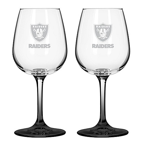 NFL Oakland Raiders Satin Etched Wine Glasses (Set of 2)