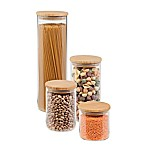 Honey-Can-Do® 4-Pack Bamboo-Lid Storage Jar Set