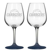 NFL San Diego Chargers Satin Etched Wine Glasses (Set of 2)