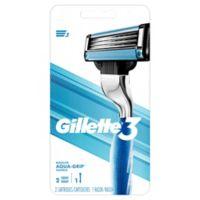 Gillette® 3 Aqua-Grip Razor with 2 Cartridges