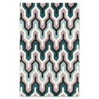 ECARPETGALLERY Stella 5' x 8' Area Rug in Turquoise/Cream