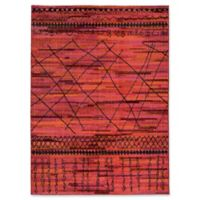 Oriental Weavers Nomad Abstract Lines 5'3 x 7'6 Area Rug in Orange