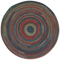 Capel Rugs High Rock Braided 8'6 Round Area Rug in Blue