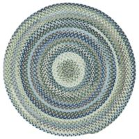 Capel Rugs Manchester Braided 7'6 Round Area Rug in Light Blue