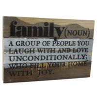 "Sweet Bird & Co. Reclaimed Wood ""Family (Noun)"" 12-Inch x 8-Inch Wall Art"