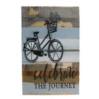 """Sweet Bird & Co. Reclaimed Wood """"Celebrate the Journey"""" 24-Inch Square Wall Art"""
