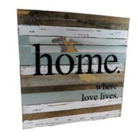 "Sweet Bird & Co. Reclaimed Wood ""Home Where Love Lives"" 24-Inch Square Wall Art"