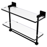 Allied Brass Montero Collection 16-Inch 2-Tiered Glass Shelf with Towel Bar in Matte Black