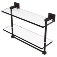Allied Brass Montero 16-Inch Double Glass Shelf with Integrated Towel Bar in Oil Rubbed Bronze