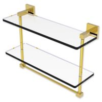 Allied Brass Montero Collection 16-Inch Double Glass Shelf with Towel Bar in Polished Brass