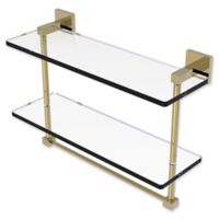 Allied Brass Montero 16-Inch 2-Tiered Glass Shelf with Integrated Towel Bar in Unlacquered Brass