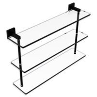 Allied Brass Montero Collection 22-Inch Triple-Tiered Glass Shelf in Matte Black