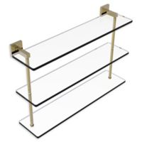 Allied Brass Montero Collection 22-Inch Triple-Tiered Glass Shelf in Unlacquered Brass