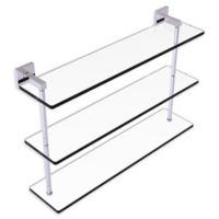 Allied Brass Montero Collection 22-Inch Triple-Tiered Glass Shelf in Polished Chrome