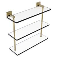 Allied Brass Montero Collection 16-Inch Triple-Tiered Glass Shelf in Unlacquered Brass