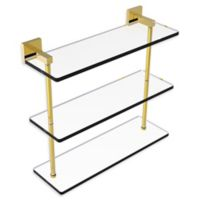 Allied Brass Montero Collection 16-Inch Triple-Tiered Glass Shelf in Polished Brass