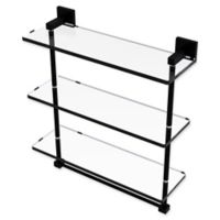 Allied Brass Montero Collection 16-Inch Triple Glass Shelf with integrated towel bar in Matte Black