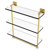 Allied Brass Montero Collection 16-Inch Triple Glass Shelf with towel bar in Polished Brass