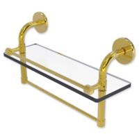 Allied Brass Remi Collection 16-Inch Gallery Glass Shelf with Towel Bar in Polished Brass