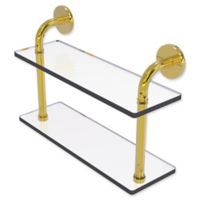 Allied Brass Remi Collection 16-Inch 2-Tiered Glass Shelf in Polished Brass