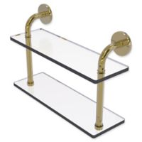 Allied Brass Remi Collection 16-Inch 2-Tiered Glass Shelf in Unlacquered Brass
