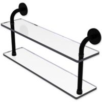 Allied Brass Remi Collection 22-Inch 2-Tiered Glass Shelf in Matte Black