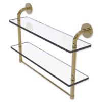 Allied Brass Remi Collection 22-Inch Double Glass Shelf with Towel Bar in Unlacquered Brass