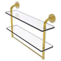 Allied Brass Remi Collection 22-Inch 2-Tiered Glass Shelf with Towel Bar in Polished Brass