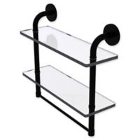 Allied Brass Remi Collection 16-Inch 2-Tiered Glass Shelf with Integrated Towel Bar in Matte Black