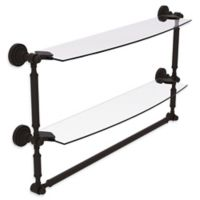 Allied Brass Dottingham 2-Tier 24-Inch Glass Shelf with Integrated Towel Bar in Oil Rubbed Bronze