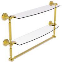 Allied Brass Dottingham 2-Tier 24-Inch Glass Shelf with Towel Bar in Polished Brass