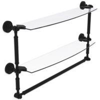 Allied Brass Dottingham 2-Tier 24-Inch Glass Shelf with Towel Bar in Matte Black