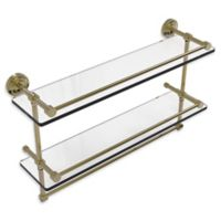 Allied Brass Dottingham 2-Tier 22-Inch Gallery Shelf with Towel Bar in Unlacquered Brass